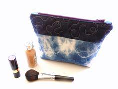 Cosmetic bag Shibori indigo blue tie #etsygift #cosmeticcase #handmade #zipperpouch dyed by NancyEllenStudios