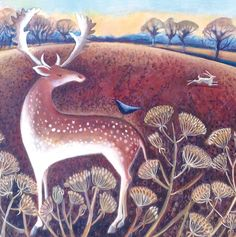 'Stag and Hare' By Painter Hannah Giffard. Blank Art Cards By Green Pebble. www.greenpebble.co.uk