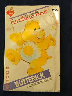 Vintage 1983 Butterick 6225 Care Bears Funshine Bear Stuffed Toy Pattern
