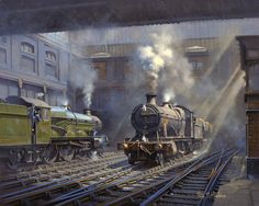 """Escaped from the fairyland and back to sanity with this painting by Philip D Hawkins.'Snow Hill Sunlight and Steam'"" Steam Art, Old Train Station, Holland, Nostalgic Art, Steam Railway, Train Art, British Rail, Great Western, Model Train Layouts"
