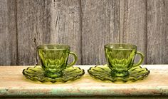 Vintage Green Depression Glass Set of Two Teacups & Saucers