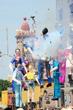 For the Firing of the Judases in San Allende de Miguel, the culmination of Easter Week, enormous papier-maché figures are blown up.