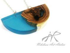 #woodresinpendantnecklace Designer pendant exotic burl wood and resin by NikibarsNatureArt