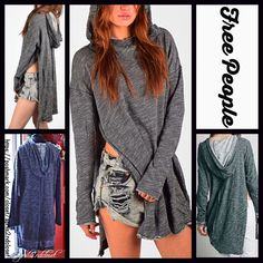 """Free People Tunic Hoodie Oversized Pastel Grey NEW WITH TAGS RETAIL PRICE: $118  Free People Tunic Hoodie Pullover  * Oversized & relaxed silhouette  * Incredibly soft, stretch-to-fit fabric  * High neck & long sleeves, & side vents  * About long, tunic length, about 34"""" long w/ subtle Hi-Lo hem  * Attached hoodie & raw edges;Tagged XS/S; oversized fit.   Fabric: 100% Cotton; Machine wash  Color: Charcoal Grey Item:128500  No Trades ✅ Offers Considered*/Bundle Discounts✅  *Please use the…"""