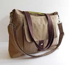 Sale  Water-Resistant Bag in khaki messenger bag tote by tippythai