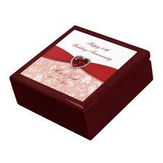 Damask 40th Wedding Anniversary Design Trinket Box