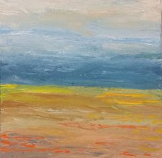 """""""Sunny Days Are  Here Again"""" by Roy  Featherstone. Oil painting on Panel / Board / MDF, Subject: Landscapes, sea and sky, Impressionistic style, One of a kind artwork, Signed on the back, This artwork is sold unframed, Size: 30.48 x 30.48 x 3.81 cm (unframed), 12 x 12 x 1.5 in (unframed), Materials: oil paint on birch board, cradled to hang 1.5 inches deep off the wall"""