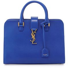 Saint Laurent Monogram Small Zip-Around Satchel Bag (3,505 CAD) ❤ liked on Polyvore featuring bags, handbags, blue majorelle, satchel purse, top zip satchel, blue handbags, zipper bag and zipper purse