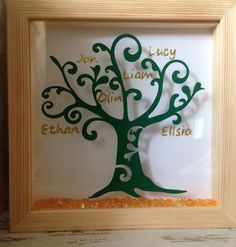 Wall art ~ personalised Family Tree framed in a shadow box ~ gold glitter ~ choose own words and colours ~ home decoration by FunkyDesignsbyDi on Etsy Personalised Family Tree, Personalized Wall Art, Family Tree Frame, Home And Deco, Green Trees, Shadow Box, Gold Glitter, Birthday Gifts, Gifts For Her