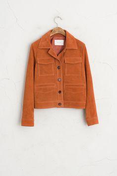 Suede Leather Two Pocket Suede Jacket, Orange