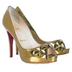 Christian Louboutin Bling Bling Golden Peep-Toe Platforms Pumps - $101.93