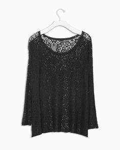 Black Crochet Top with Dolman Sleeves