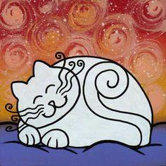 """quadro fiabesco """"gatticicci""""   cm 15x15   dipinto a mano da Max e Elena Panizza   www.panizza.info"""