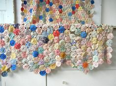 Vintage Feedsack Fabric Yo Yo Quilt Over 1000 YoYos