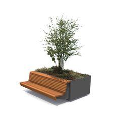 Plantenbak met hangende zitbank.