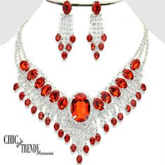 HIGH END LOOK, LOW PRICE RED CRYSTAL CHUNKY NECKLACE JEWELRY SET CHIC & TRENDY #Unbranded