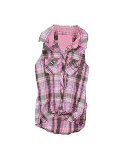 Girls Pink Plaid Tie Waist Shirt