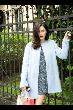 Eleonora Carisi with a blue coat from Zara in www.vogue.es