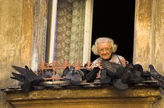 The Old Lady and the Birds    I was wandering quite aimlessly around Kazimierz, the old Jewish district in Krakow, when I noticed someone taking photographs of the side of a building. As often happens I looked up to see what the subject was that had so captivated so many happy-snappers.    The old woman looked so happy feeding the pigeons (despite the fact that they're horrid creatures), and had such a wonderful expression. She saw us photographing her from below, and still she seemed kind…