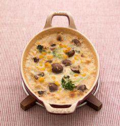 ブロッコリー×コーン×マッシュルームのみそグラタンはご飯との相性バツグン。/食べて安心、活用度大!手作り調味料(「はんど&はあと」2013年2月号)