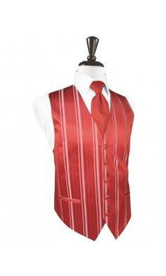 Persimmon Striped Satin Tuxedo Vest