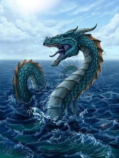 "The Midgard Serpent by Nightlyre. In Norse mythology, Jörmungandr, or ""Midgarðsormr"" was a sea serpent so long that it encircled the entire world, Midgard. Some stories report of sailors mistaking its back for a chain of islands. Water Dragon, Sea Dragon, Dragon Art, Blue Dragon, Fantasy World, Fantasy Art, Dragon Medieval, Types Of Dragons, Dragons Den"