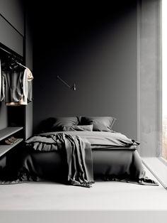Minimal Home Decor Design minimal black bedroom decor Minimalist Bedroom Small, Minimal Bedroom, Minimalist Apartment, Minimalist Home, Black And Grey Bedroom, Black Bedroom Decor, Black Interior Design, Bedroom Plants, Dark Interiors