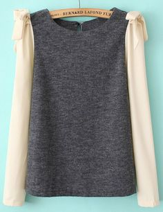 Grey Contrast Long Sleeve Bow Blouse EUR€24.61