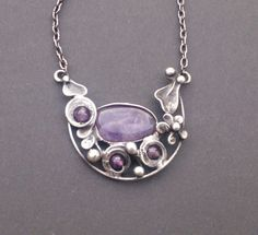 Metal necklace with Gemstone Amethyst. Pendant is handmade.Tiffany technique, Healing Stone, jewellery . by Helenamode on Etsy