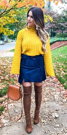 #winter #outfits yellow long-sleeve shirt and blue mini skirt