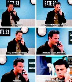 Joey and Chandler. When Chandler goes to Tulsa Friends Funny Moments, Friends Scenes, Funny Friend Memes, Friends Episodes, Friends Cast, I Love My Friends, Friends Tv Show, Joey Friends, Joey And Phoebe