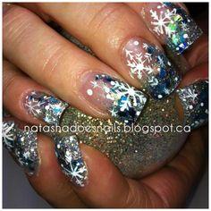 hand painted snowflake nails