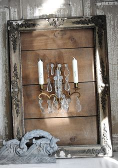 ShaBBy-Framed WALL SCONCE...want!