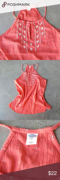 Old Navy Coral Orange Embroidered Print Tank Old Navy tank top, size medium, in excellent condition! Higher neckline halter style. Flowy body. Coral orange pink color. Embroidered print. Please ask any questions. No trades. Make a reasonable offer. Thanks! Old Navy Tops Tank Tops