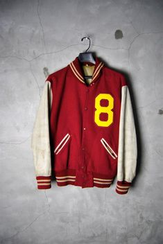 mens vintage 1950's letterman's Varsity Jacket, wool and leather, no 8,