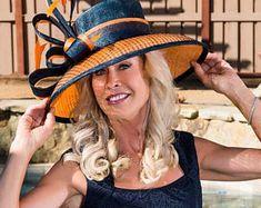 2018 collection. Kentucky Derby hat. Designer hat. Couture hat. Navy hat. Orange hat. Royal ascot hat. Derby hat. Wedding hat