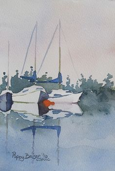 "Sailboat Sketch II by Poppy Balser Watercolor ~ 7"" x 5"""