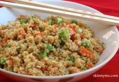 Get a whole week of healthy dinners like this Quinoa and Vegetable Stir-Fry. These dinners are under 300 calories.