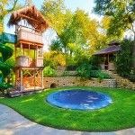 Backyard With Playhouse And In Ground Trampoline : Fun Outdoor Backyard Trampoline Sunken Trampoline, In Ground Trampoline, Backyard Trampoline, Backyard Playground, Backyard For Kids, Backyard Projects, Backyard Ideas, Backyard Designs, Pool Backyard