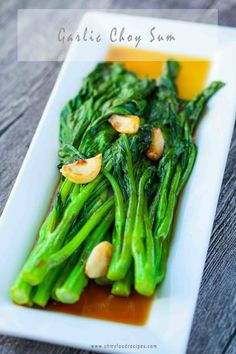 Delicious garlic yu choy sum is the best to serve as a side. This recipe only takes 10 minuets & show the best way how to cook yu choy sum. Tofu Recipes, Curry Recipes, Asian Recipes, Healthy Recipes, Ethnic Recipes, Chinese Recipes, Jello Recipes, Asian Desserts, Asian Foods