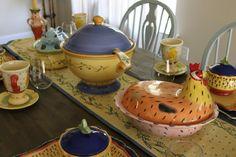 Pistoulet rabbit and hen casserole dishes together Vicks Vapor Rub, Casserole Dishes, Breakfast Nook, Hens, Tea Pots, Rabbit, Handgun, Dump Casseroles, Bunny Rabbit
