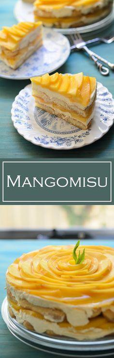 Mangomisu is a tropical twist of the original tiramisu. Mango-misu simply delectable, delicious summer dessert when mangoes are in season. Homemade Desserts, Great Desserts, Summer Desserts, Delicious Desserts, Mango Dessert Recipes, Mango Recipes, Asian Desserts, Tart Recipes, Mango Tiramisu Recipe