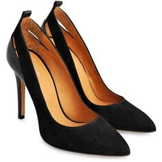 Iró Kana suede and leather pumps ($380) ❤ liked on Polyvore featuring shoes, pumps, heels, sapatos, black, black leather pumps, black shoes, pointed toe high heel pumps, pointed-toe pumps and black heel pumps