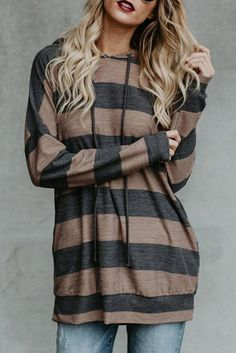 80619c5837 Poppoly Branson Striped Pocketed Hoodie