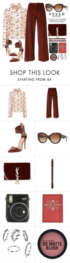 """""""Dark Red"""" by smartbuyglasses ❤ liked on Polyvore featuring LUISA BECCARIA, SEMICOUTURE, Christian Louboutin, Burberry, Yves Saint Laurent, Charlotte Russe, Fuji and red"""