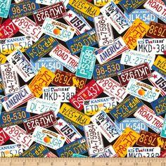 Timeless Treasures License Plates Multi