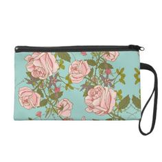 Elegant Vintage Nature Pink Roses Beautiful Flower Wristlet Purse -nature diy customize sprecial design