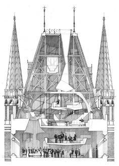 St pancras (sectional drawing) alan dunlop c. 2009 pencil on Revit Architecture, Paper Architecture, Architecture Drawings, Historic Architecture, Rendering Drawing, Cad Drawing, Drawing Sketches, Drawing Style, Image Beautiful