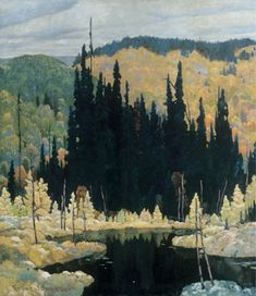 Autumn, Algoma (Art Nouveau) -Frank Johnston Canadian (group of seven) Tom Thomson, Group Of Seven Art, Group Of Seven Paintings, Emily Carr, Canadian Painters, Canadian Artists, Abstract Landscape, Landscape Paintings, Art Moderne