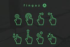 fingaz A ~~ A collection of basic vector gesture icons.     You will get a zip file with:     - .ai file (for illustrator)     - .psd file (for photoshop)     - .eps file (for other vector software)     - a folder with all the icons as .pngs